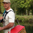 Stock Photo: Man with his fishing gear