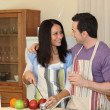 Couple having fun cooking together — Stock Photo #7947097