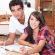Students at home — Stock Photo