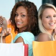 Stock Photo: Two girls doing shopping