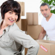 Stock Photo: Couple moving house