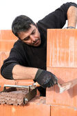 A bricklayer at work — Стоковое фото