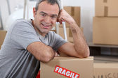 Warehouse manager stood by boxes — Stock Photo
