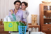 Couple sorting the recycling — Stock Photo
