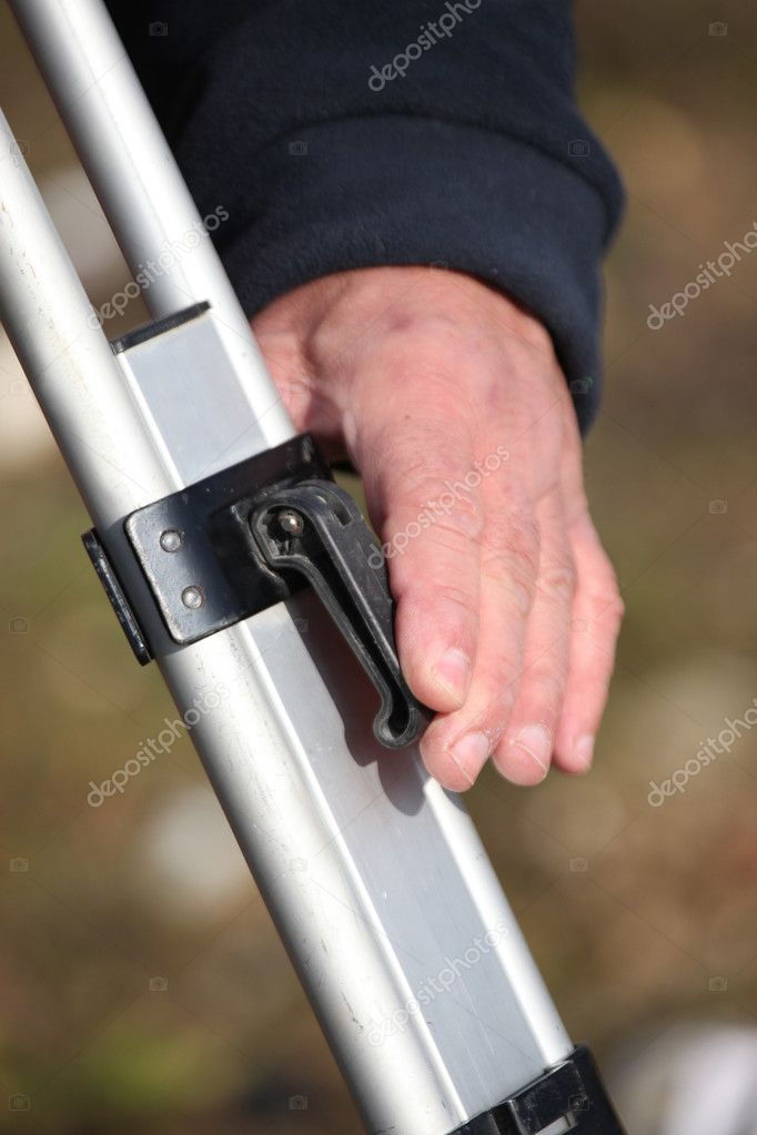 Close up of male surveyor's hand — Stock Photo #7941596