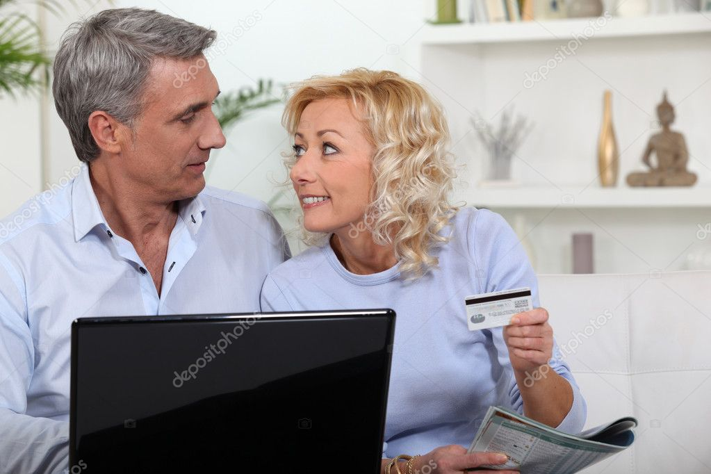 Couple shopping on-line  Stock Photo #7949791