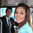 Girl on bus — Stock Photo #7950173