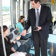 图库照片: Ticket collector in tramway