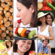 Healthy eating mosaic — Stock Photo
