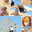 Stock Photo: Construction of a wooden house