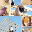 Stock Photo: Construction of wooden house