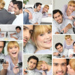Montage of friends playing computer games — Stock Photo