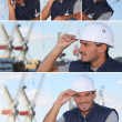 Stock Photo: Images of a man working on an oil rig