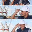 Stock Photo: Images of mworking on oil rig