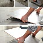 Handyman spreading glue on the floor — Stock Photo #7950844
