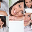 Many facial expressions of a brunette woman — Stock Photo #7951012