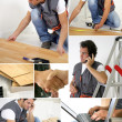 Montage of a worker laying floor — Stock Photo