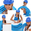 Portraits of a pretty young female laborer — Stock Photo