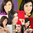 Montage of attractive woman eating sushi — Stock Photo