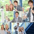 Foto Stock: Students and teacher in corridors of college