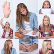 Girls in classroom — Stockfoto