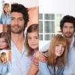 Portraits of a man, a woman and a little girl — Stock Photo