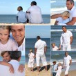 Man with kids at the beach — Stock Photo