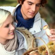 Couple after mushroom picking — Stock Photo