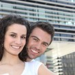 Couple in build up area — Stock Photo #7951900