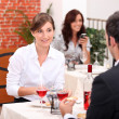 Couple eating in a restaurant — Stock Photo
