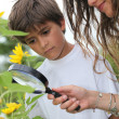 Boy and mother observing nature — Stock Photo