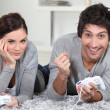 Stockfoto: Couple playing games console