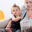 Mother reading to toddler — Stock Photo #7955346