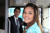 Girl on the bus — Stock Photo