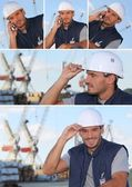 Images of a man working on an oil rig — Stock Photo