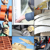 Montage of various aspects of construction — Stock Photo