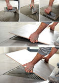 Handyman spreading glue on the floor — Stock fotografie