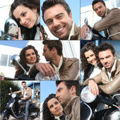 Photo-montage of a young couple with scooter — Stock Photo