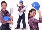 Assertive female construction worker — Stock Photo