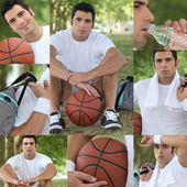 Montage of a basket-ball player — Stock Photo