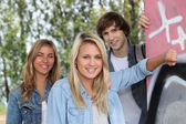 Teenagers smiling — Stock Photo