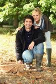 Couple going mushroom picking. — Stock Photo