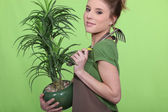 Young woman holding a plant — Stock Photo