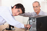 Technician repairing computer — Stock Photo