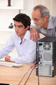 Father and son on the computer. — Stock Photo