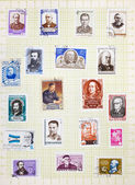 古いソビエト郵便切手のアルバム ページ — ストック写真
