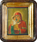 Old Slavonic icon of Virgin Mary — Stock Photo