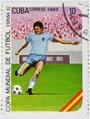 Postzegel gewijd aan het voetbalkampioenschap — Stockfoto