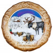 Souvenir plate depicting the Lapland - Finland — Stock Photo