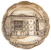 Piastra di souvenir raffigurante la venezia — Foto Stock